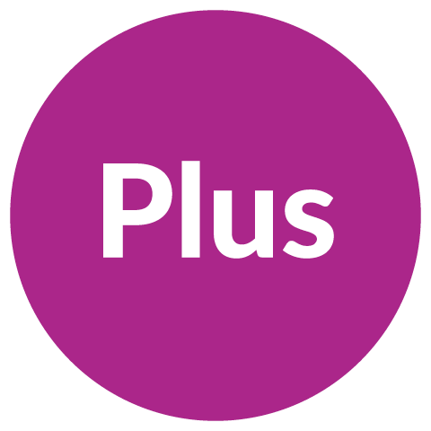 Purple circle with the word plus in the center
