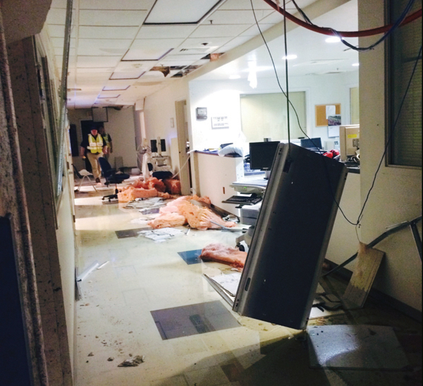 Damaged interior of Winston County Medical Center in Louisville