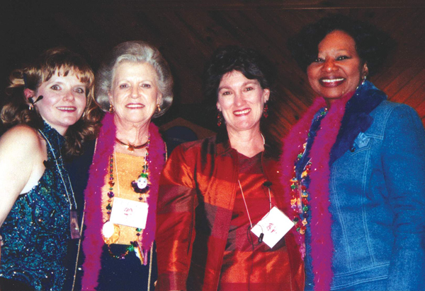 Barbara Kellett, left, Pat Fordice, Theresa Bridges, center, and Juanita Phillips