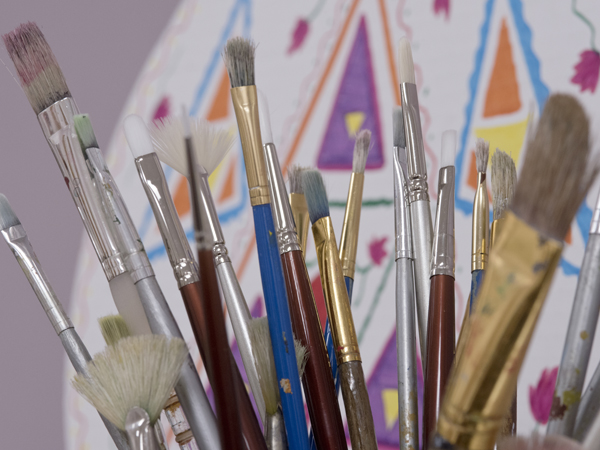 Paint brushes used by patients during art therapy sessions