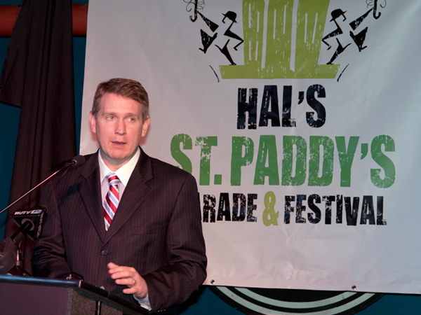 Guy Giesecke, CEO of Children's of Mississippi, thanks sponsors and organizers of Hal's St. Paddy's Parade for their support of Batson Children's Hospital.