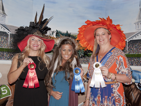 "Winners in the University Transplant Guild's ""Day at the Derby"" fundraiser hat competition are, from left, Valerie Brunt, second place; Liz Ethridge, first place; and Theresa Anderson, third place."