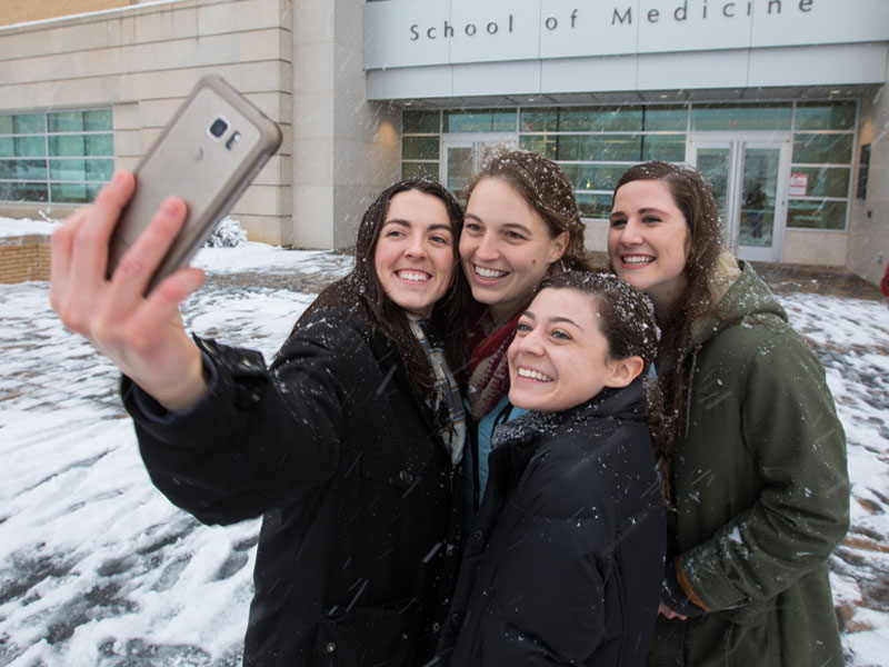 Did someone say snow selfie? First year medical students Katherine Thiel, Marimac Collins, Catherine Kronfol and Chrissy Miller have it covered.