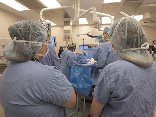 In foreground, Howell, left, and Blaylock observe a gallbladder surgery.