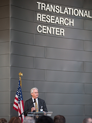 Summers helps dedicate the $50 million, 124,852 square-foot Translational Research Center during a November 10, 2017 ceremony.