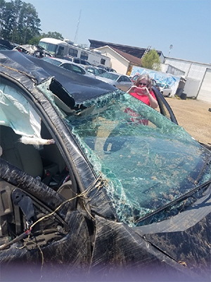 Summer Jefferson's vehicle after the car wreck that threatened to keep her from returning to Ole Miss for her senior year.