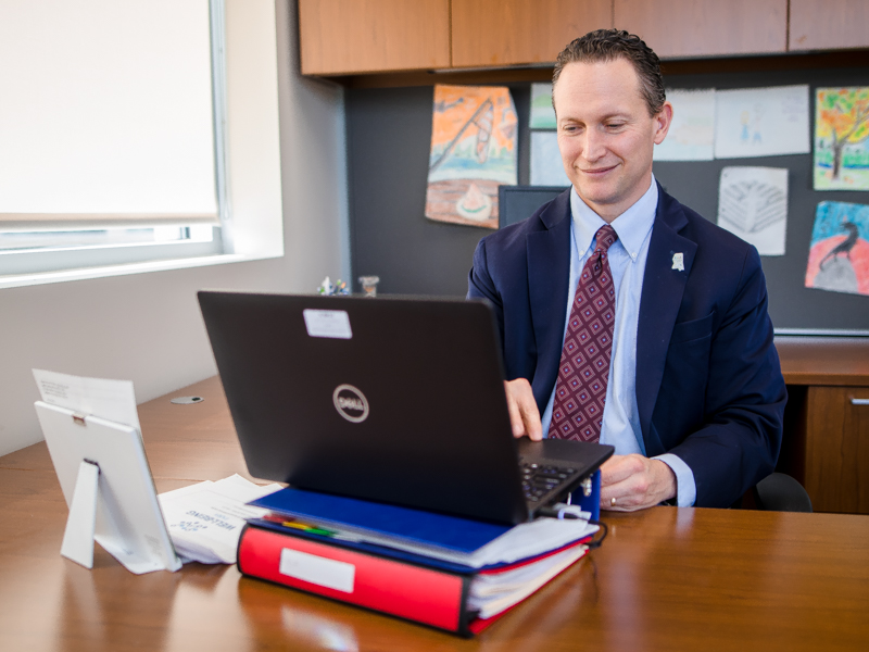 Dr. Joshua Mann, professor and chair of the Department of Preventive Medicine, reads names of graduates during virtual commencement exercises on May 22.