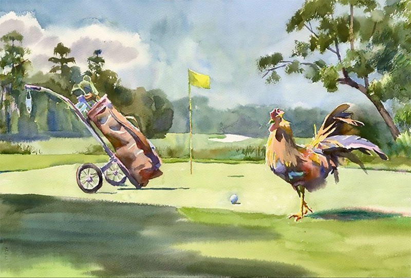 The 2020 Sanderson Farms Championship print has a nod to the pandemic. There are no spectators except for Reveille the rooster, and there's a face mask dangling from the golf bag.