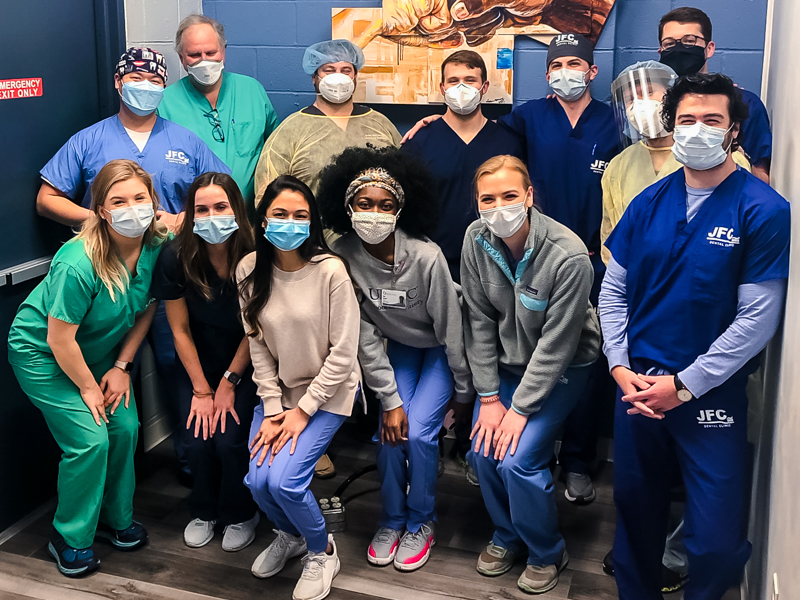 School of Dentistry students and volunteers at the Jackson Free Clinic include, front from left, Katelyn Allen, Kara Cook, Reema Patel, Lakymberya Buckner, Elisabeth Sinclair, Laden Hajje; and back row, from left, Cedar Baik, Dr. George May, Brian McCollough, Hayden Coffrey, Collin Peterson, Lucas Bishop and Jack Cutrer.