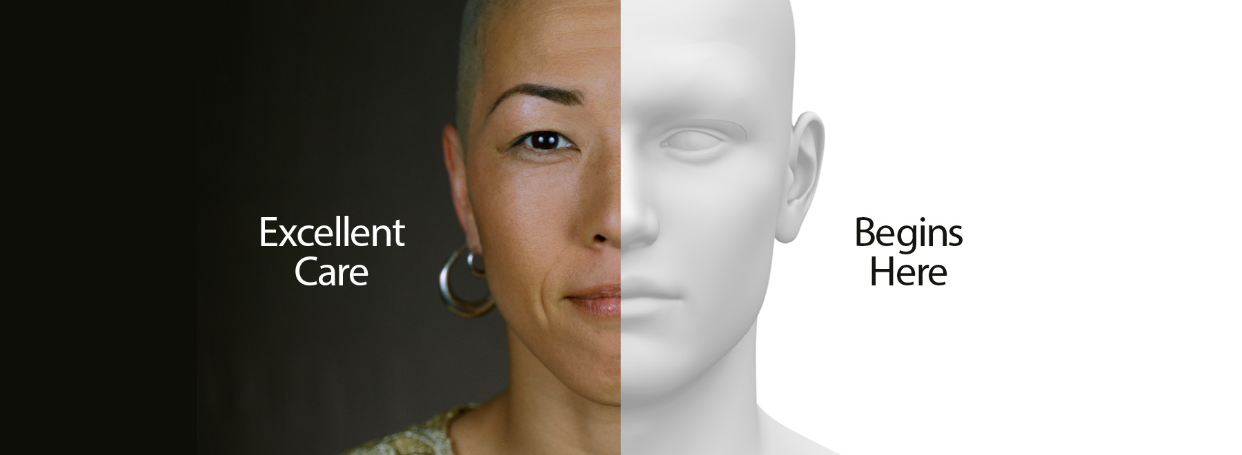 Graphic half simulation mannequin face, half woman's face. Text says