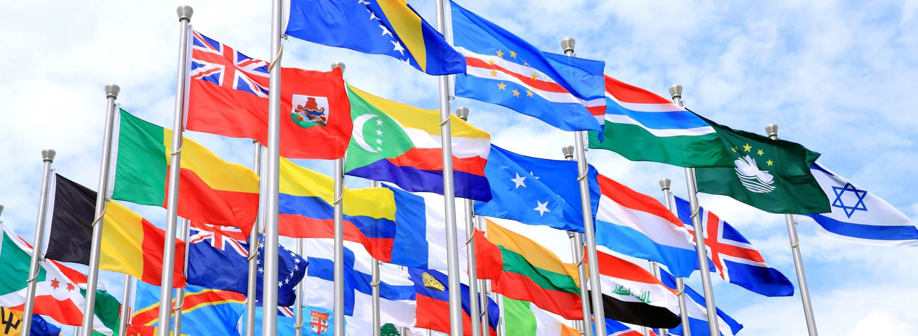 Row of international flags