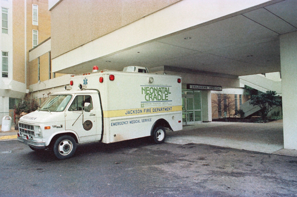 The Neonatal Cradle, one of the earlier ambulances in the transport fleet, was donated in 1979 by the Junior League of Jackson.
