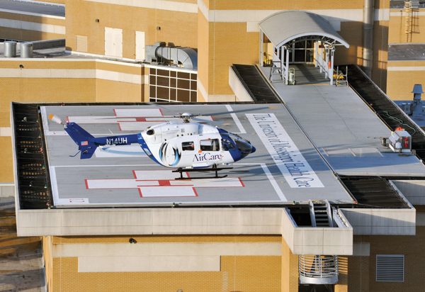 AirCare I, one of two emergency helicopters, is essentially a flying intensive care unit.