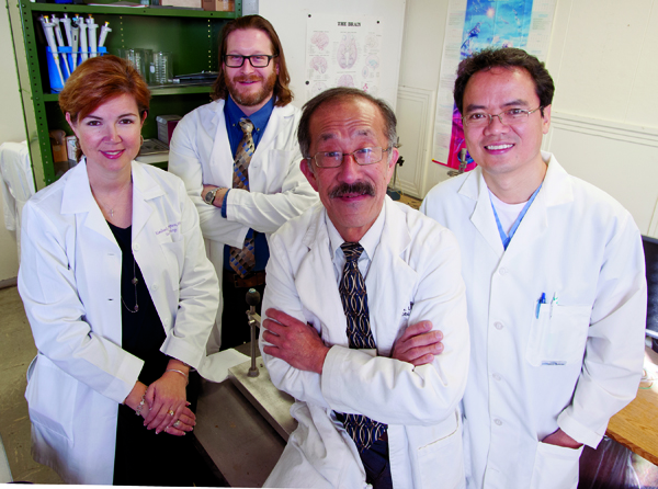 "From left, Dr. Kimberly Simpson, Dr. Ryan Darling, Dr. Rick Lin and Dr. Yuegen ""Jordan"" Lu"