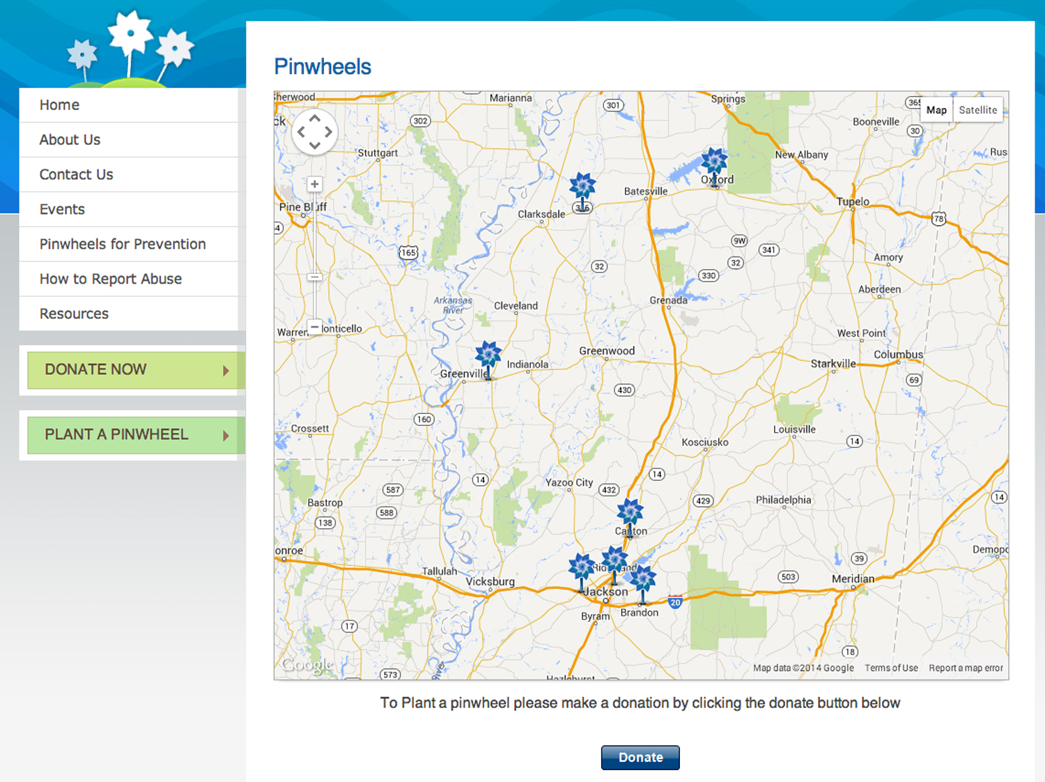 Screenshot of the virtual pinwheel map at www.preventchildabusems.org