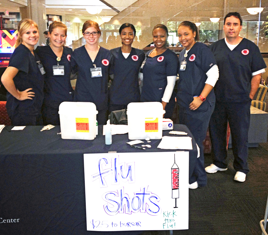 Senior Traditional BSN students administered about 150 flu vaccinations on the Ole Miss campus in October.