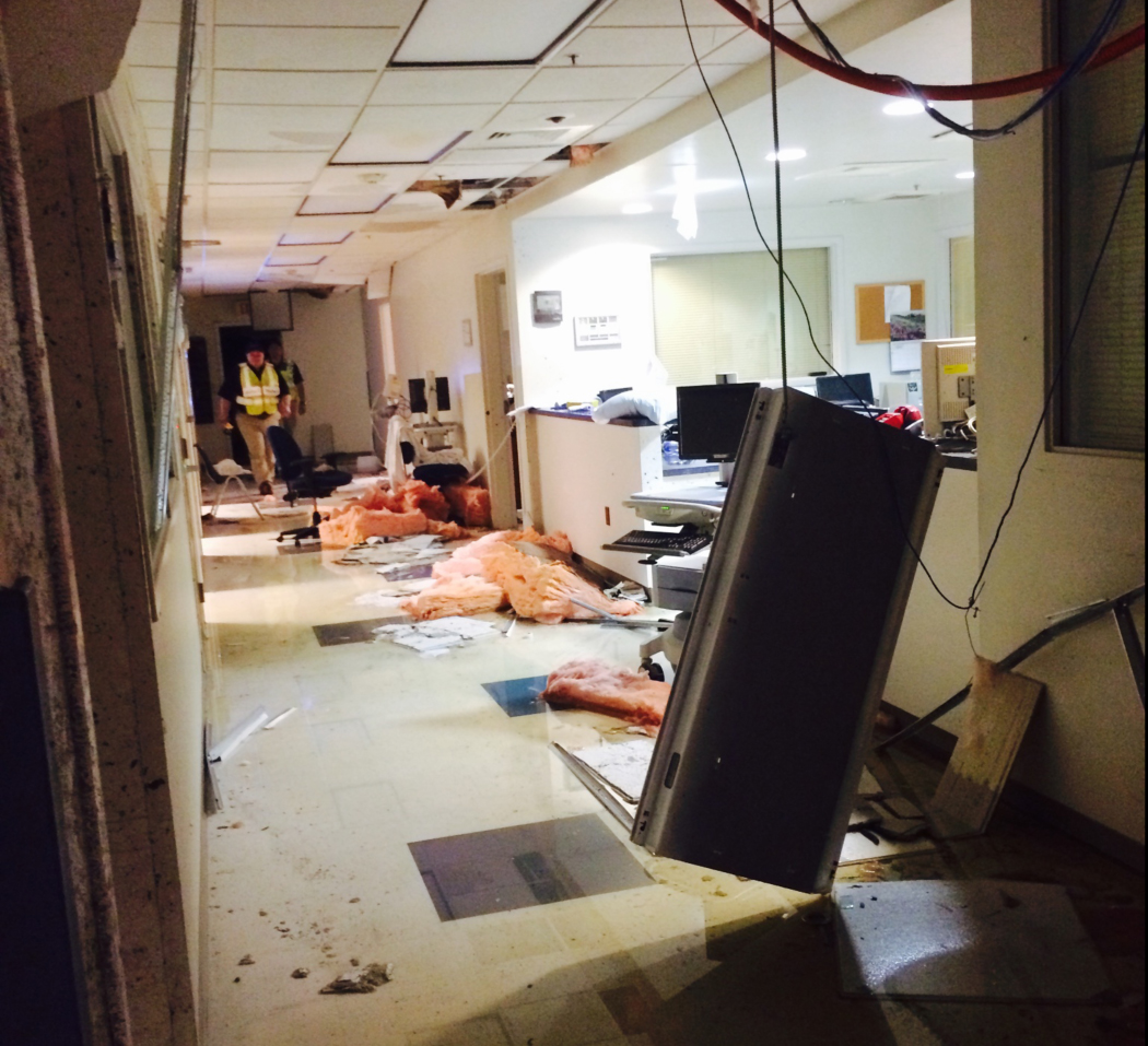 Damaged interior of of Winston County Medical in Louisville