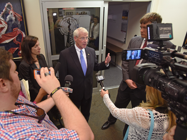 Sen. Wicker speaks with the media after his tour.