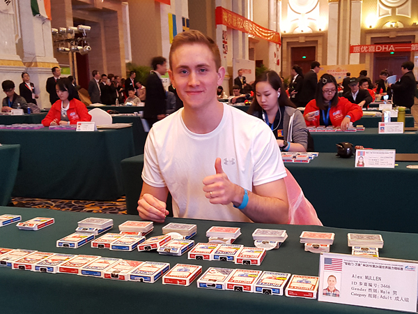 Mullen prepares to compete in one of the memorization events involving decks of cards at the World Memory Championships in Chengdu, China.