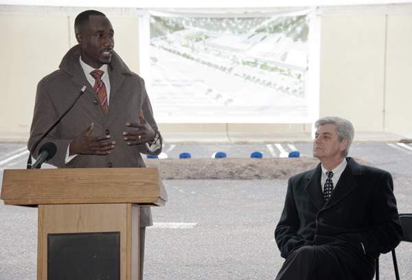Yarber addresses the attendees of the groundbreaking ceremony