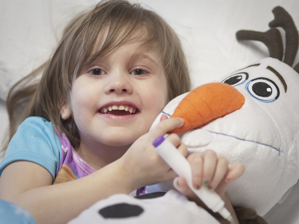 "Helena White, with Olaf the Snowman from ""Frozen"""