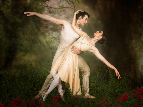 Dr. Mark Reed has experimented with adding backgrounds using Adobe Photoshop. Here, Ballet Magnificat dancers were portraying Adam and Eve against a gray backdrop. The fern-laden Garden of Eden was created on Reed's computer.