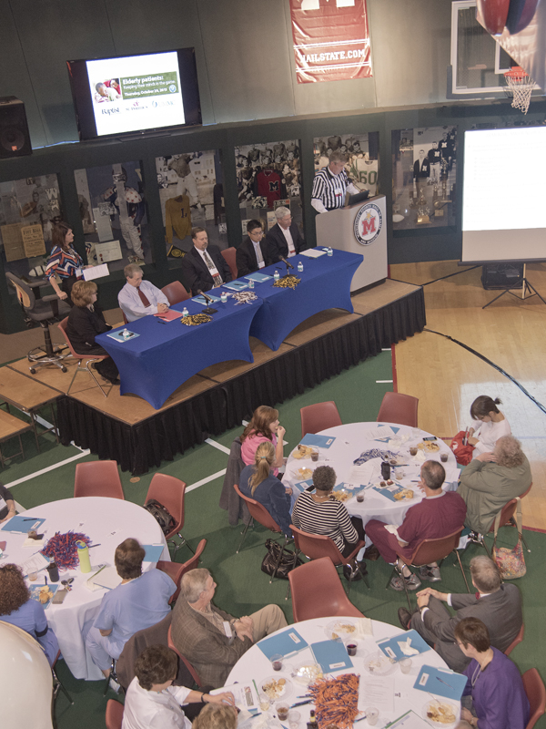 About 100 caregivers and continuing medical education staff from UMMC, St. Dominic Hospital and Baptist Medical Center took part Oct. 29 in a first-time CME collaboration at the Mississippi Sports Hall of Fame and Museum.