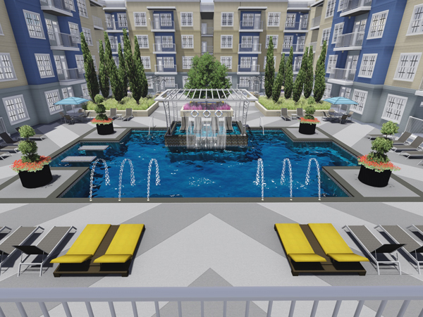 An in-pool sun deck is a special feature of the Meridian at Fondren's courtyard.