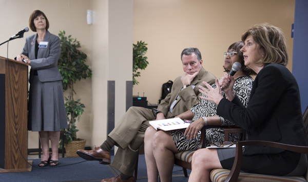 Therese Hanna, far left, leads a panel discussion with, from left, Dr. Rick Barr, Dr. Janice Bacon and Dr. Linda Southward.