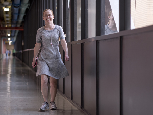 UMMC employee Stephanie Lucas is a fixture on the walkway connecting the schools of Medicine and Dentistry. Her fast pace inspires others who walk through the day.