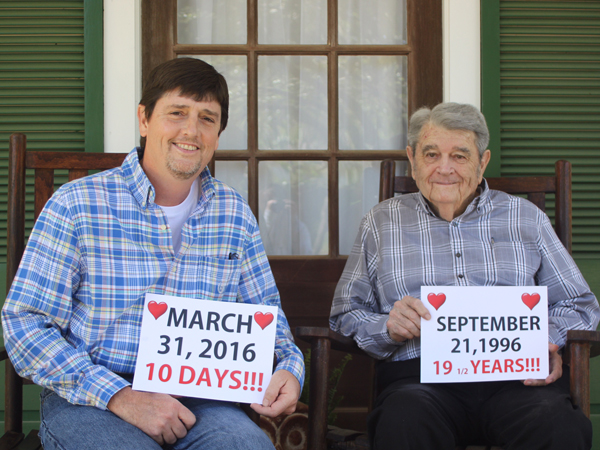 Brad Fitzgerald, left, and his father Nick had heart transplants nearly 20 years apart.