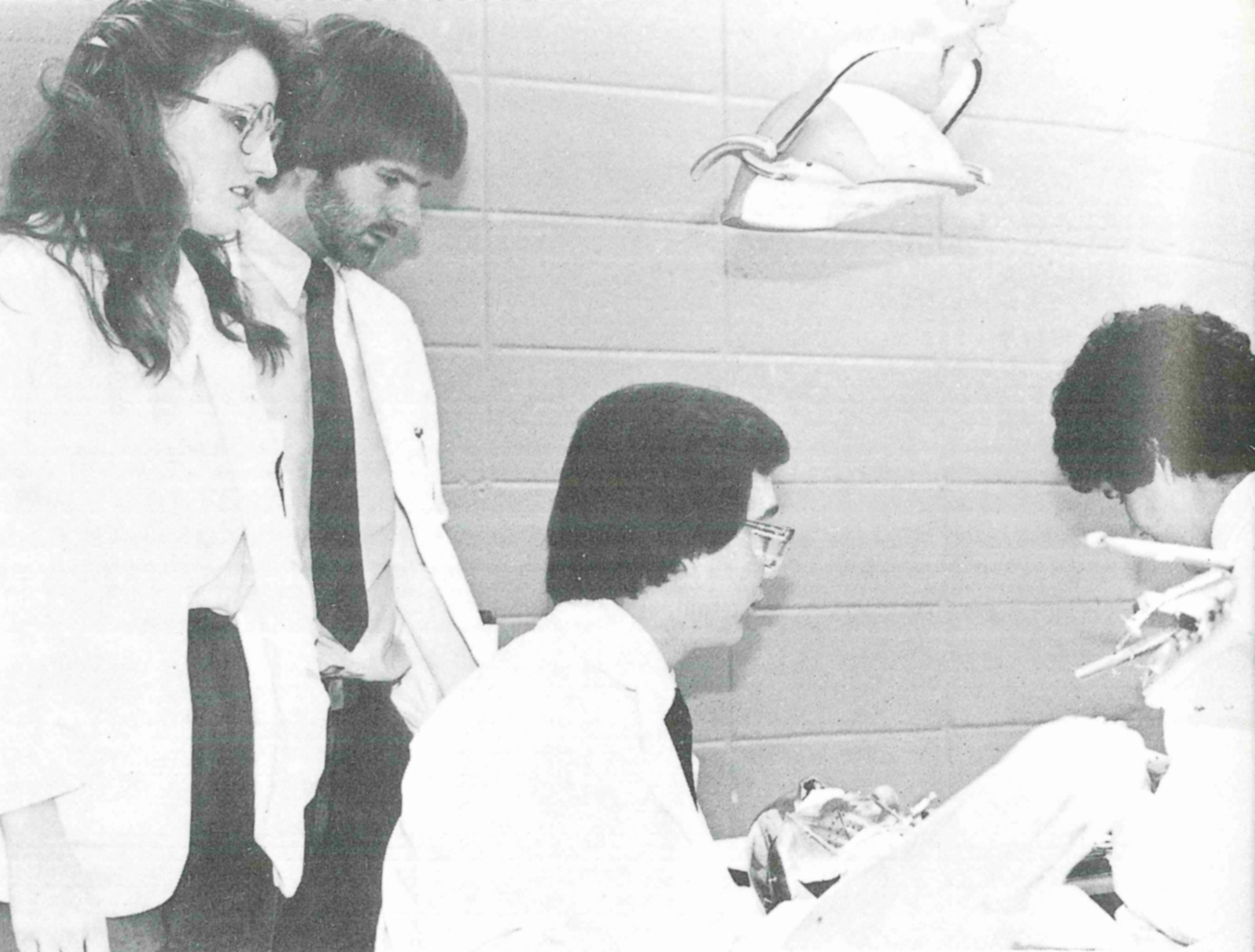 Horn, left, takes part in a community development morning at the SOD in 1981.