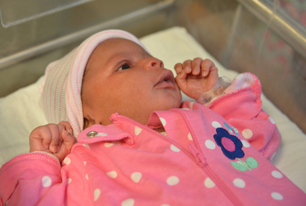 Ja-Nya Wesley is the first baby born at UMMC in 2016.