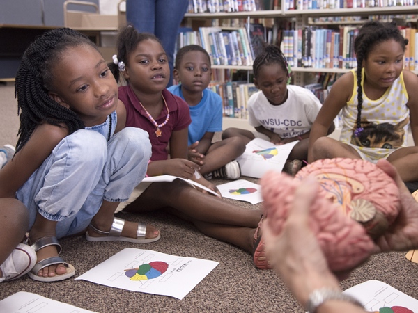 Students in Summer Food Rocks get a look at a model of the brain.