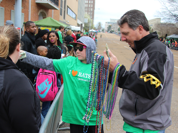 Scott Steele, an on-air personality for US 96.3, and son Colby were out volunteering for Batson Children's Hospital during the Hal's St. Paddy's Parade.