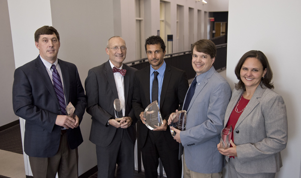 The Discovery Award winners from left, Dr. Michael Hall, Dr. Andrew Grady, Dr. Alejandro Chade, Dr. Lee Bidwell and Dr. Jennifer Sasser.