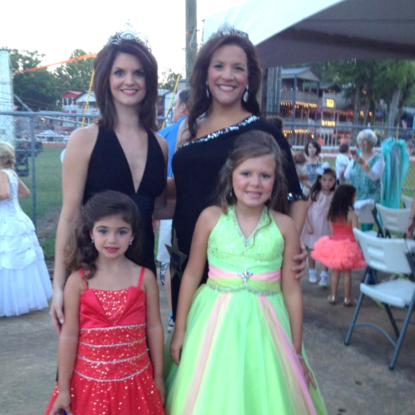 Just three days after her cochlear implant surgery, Lindsey Edmondson, upper left, attended a reunion of Miss Neshoba County Fair winners. She's pictured with her daughter Posey, bottom left, and Lindsey's aunt, fellow Miss Neshoba County Fair Shannon Posey and Posey's daughter Lauren Qwen Posey.
