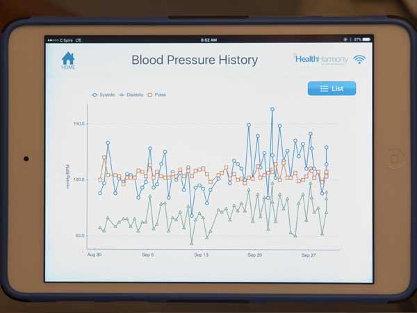An IPad Mini remotely keeps a history of Thomasene Bennett's blood pressure levels so that her doctors can access it at any time.