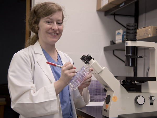 Bernadette DeRussy works in the UMMC pathology labs