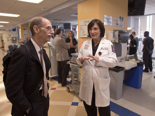 Dreyer gets a tour of the pediatric intensive care unit from Dr. Mary Taylor, chief of pediatric critical care at UMMC.