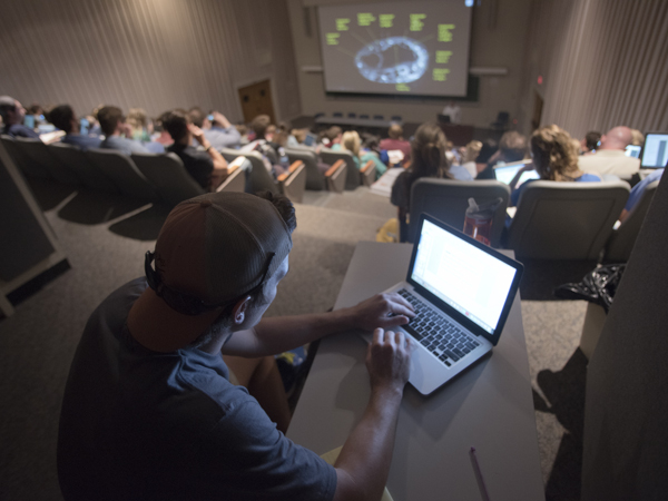 School of Medicine classes stay packed, including this session in the upper amphitheater.