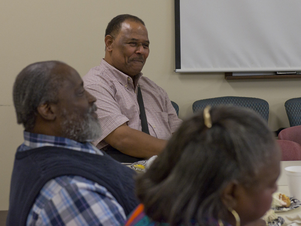 Peter Green, left, and Harold Mayberry, both of Jackson, enjoy a speaker at their heart failure support group meeting.