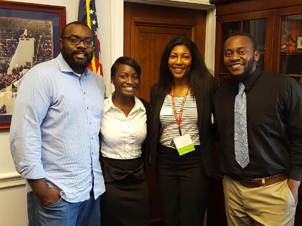 "RESULTS fellowship awardees meet with John ""Trey"" Baker III, left, aide to 2nd District U.S. Rep. Bennie Thompson, D-Mississippi, in Washington, D.C. The students are, from left, Carmichael, Wheeler and Adah."