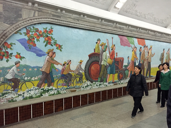 Beautiful mosaic murals adorn the walls of the subway station in Pyongyang.