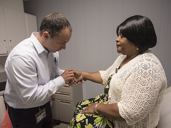 During the clinic's opening day, Sarah Haynes is one of Byrd's first patients.