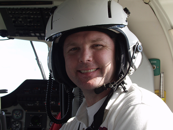 Perry is shown inside an AirCare vehicle in a photo taken more than a decade ago.