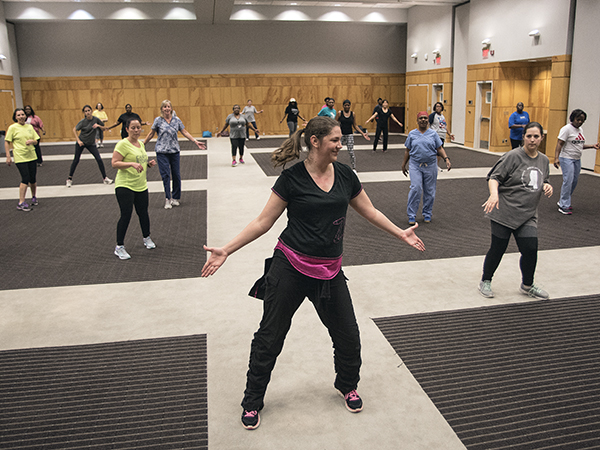 Assistant professor of nursing Josie Bidwell (pictured foreground) and Beth Ammons, a registered nurse and patient navigator in pediatric neurology, are leading campus Zumba classes as part of the Medical Center's emphasis on wellness.