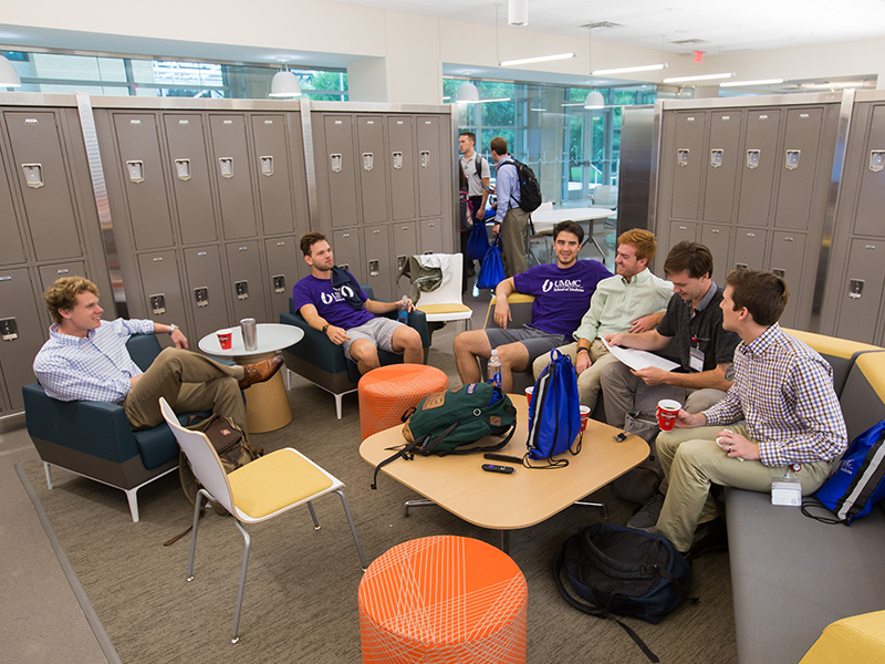 First-year medical students and their second-year prefects get acquainted and comfortable in the new School of Medicine's student lounge area.