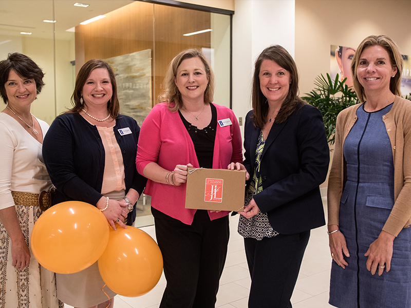 Junior League of Jackson President Melanie Hataway, center, along with, from left, Community Foundation of Greater Jackson President and CEO Jane Alexander and JLJ board member Crystal Thompson, presented a $400,000 donation May 30, 2017 from the League to The Campaign for Children's of Mississippi. Accepting the donation are UMMC interim Chief Development Officer Natalie Hutto and Michelle Alexander, right, UMMC major gifts officer.