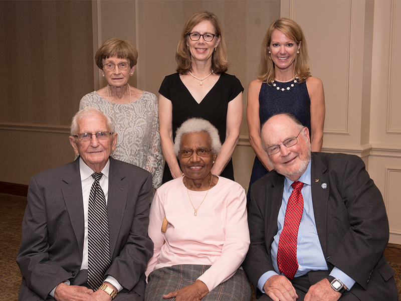 Those recognized at the UMMC Medical Alumni and Friends Awards Dinner, are, from left, front row, Hall of Fame honorees Dr. Paul H. Moore Sr., Dr. Helen Barnes and Dr. John D. Bower; back row, from left,  are Hall of Fame inductee Dr. Jeanette Pullen; Dr. Mary Currier, the 2017 Distinguished Medical Alumnus Award recipient; and Dr. Gayle Watters, who accepted the Hall of Fame Award on behalf of her late mother Dr. Connie McCaa.